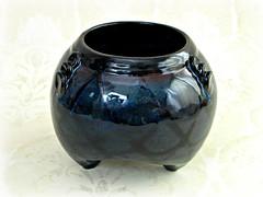 Tripod Flower Vase / Planter (MudsEvolutionPottery) Tags: blue black flower home wheel garden handmade decorative tripod gift vase housewarming elegant planter stoneware thrown arrange