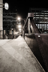 Walk... (Geoff  RT Ficiel ) Tags: bridge light bw chicago beautiful metal architecture night concrete nikon body walk bolt boardwalk d700 1635vr