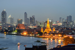 Wat arun (ake1150sb) Tags: park street new city travel bridge blue light sunset shadow red sky cloud mountain tower water skyline architecture night skyscraper landscape thailand office asia cityscape bangkok citylife landmark business backgrounds urbanscene buildingexterior lightingequipment downtowndistrict builtstructure roadintersection musicalinstrumentbridge