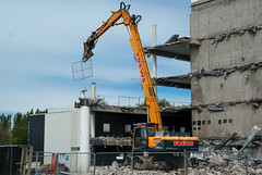 Flying Fence (Jocey K) Tags: trees newzealand christchurch sky building architecture demolition cranes cbd rubble fnece