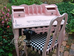 Hand Painted Pink and Black Desk Dressing Vanity (LeahJane Originals) Tags: pink black beauty shop hair bedroom desk girly laptop stripe makeup reception boutique workspace salon chic dresser spa parlor striped glamorous handpaintedfurniture pinkfurniture handpaintedfuniture