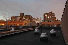 131st Street (Joe Damage) Tags: nyc sky newyork reflection rooftop window skyline buildings apartments dusk harlem satellitedishes 131ststreet joepike