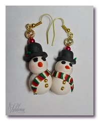 Frosty - Earrings (SomewhatOdd) Tags: christmas flowers original holiday art glass beautiful silver hearts cord gold necklace beads snowman colorful pin bright artistic mixedmedia unique oneofakind brooch jewelry kaleidoscope christmastree pearls polymerclay fimo clay gift bracelet sculpey earrings cheerful tutorial pendant pardo glassbeads polymer premo wirewrapped polyclay swarovskicrystals mokumegane miniaturefood micashift cabochons originaldesigns kaleidoscopecane magneticclasp filigreebeads seed handmade coloredwire metal beads handbraidedcord findings veldenaladson ovensafemolds