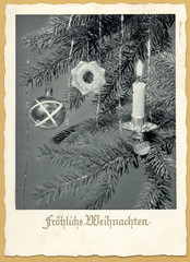 Frhliche Weihnachten - Merry Christmas (Rescued by Rover) Tags: christmas tree glass ball weihnachten candle postcard decoration card merry cp postale carte frhliche