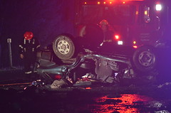 Serious Rollover on Nanaimo Parkway (Canada Emergency Photography) Tags: canada news rain night lights highway bc crash nanaimo vancouverisland rcmp firedepartment firefighters rollover caraccident mva airambulance bcas
