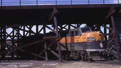 Great Northern 510 on the Hill Track 1970 (Twin Ports Rail History) Tags: street history jeff by wisconsin burlington track diesel time hill great machine twin superior rail locomotive northern ports roundhouse emd belknap lemke e7a