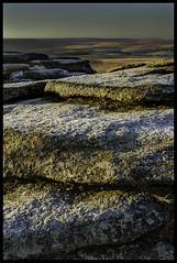 on the rocks (surfage) Tags: park winter wild white snow cold ice sunrise landscape gold golden frozen nikon frost devon national hour granite remote tor moor dartmoor moorland bellever d5100