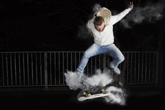 Flour Power! (omarsaleem) Tags: lighting urban white motion black night contrast canon power mark iii flash skateboard 5d skater flour ilford harman babypowder speedlite 2470 600exrt ste3rt