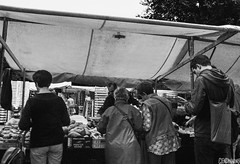 Berlin market (smellerbee) Tags: old ladies friends people blackandwhite bw holiday berlin monochrome germany outdoors four blackwhite europe pentax market outdoor five markets strangers together buy canopy purchase greyscale pentaxkr