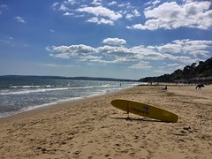 Branksome Beach (Marc Sayce) Tags: sea beach coast sand lifeguard dorset surfboard longboard bournemouth sandbanks rnli branksome canford