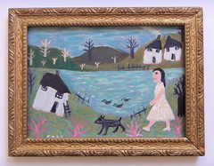 #1335 (sariart2) Tags: original trees dog house lake abstract art girl self vintage painting landscape acrylic raw folk ooak ducks frame ornate sari childlike azaria noy taught