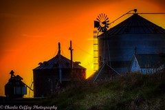 HWW (Explored) (decorahman) Tags: sunset rural farm silhouettes iowa bins decorah 2016 winneshiekcountry