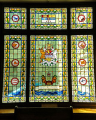Queen Elizabeth II Golden Jubilee stained glass window (Canadian Dragon) Tags: windows light summer canada bc august stainedglass victoria vancouverisland legislature parliamentbuildings 2015 queenelizabethiigoldenjubilee dschx5c queenelizabethanniversary