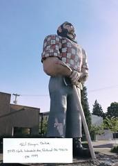 Paul Bunyan (heyshelby) Tags: statue handwriting portland words outdoor text note nostalgia desaturated portlandoregon paulbunyan 1959 northportland paulbunyanstatue 97217 northportlandoregon est1959 canonrebelt3i