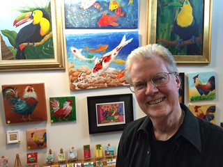 Artist Joe Woodward in his studio at the Futurama building on eighth street