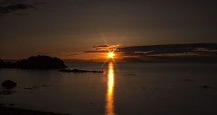 Dunure Sunset (f33mac) Tags: ocean sunset sea orange cloud sun reflection beautiful beauty yellow rock set night scotland dusk arran dunure