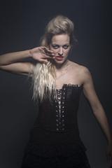 'Slither' (dannyvdgriend) Tags: portrait woman color colour beauty mouth person hand dress dramatic corset drama beautifull