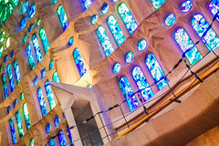Sagrada Famlia Stained Glass (Jean-Paul Navarro) Tags: barcelona spain catalonia catalunya barca europe sagrada famlia sagradafamlia basilica baslica temple expiatori baslicaitempleexpiatoridelasagradafamlia antoni gaud antonigaud church interior stained glass windows color people light