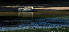 Purangi River, Moored Dinghy 1 (ArdieBeaPhotography) Tags: blue white reflection water contrast river boat sand aqua shadows turquoise bank shore tidal sparkling dinghy anchored moored