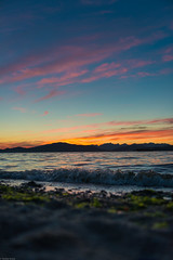 Wowzers! This sunset was incredible! (Sonika Arora 604) Tags: pink blue sunset summer orange sun mountains seaweed beach nature water beautiful beauty sunshine vancouver clouds outdoors sand nikon rocks waves natural outdoor horizon relaxing sunsets peaceful naturallight spanishbanks serene summertime blueskies summernights westvancouver pinkclouds vancity lowangle lowperspective naturephotography beautifulbc nikonphotographer nikonphotography nikonphotographers explorebc explorecanada explorevancouver