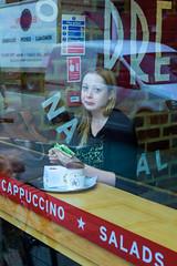 Quick Bite (Jomak1) Tags: jomak1 london street putney june rps photography 2016 swgroup photowalk quickbite coffee sandwich woman young pretamanger cappuccino salads reflections