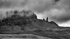 Dramatic Old Man of Storr (haqiqimeraat) Tags: scotland skye oldmanofstorr nature amazingnature monochrome mono bw blackwhite nikon 2485 clouds thickclouds dramatic