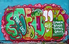 SMOKiN BYUGES DOiNG GALVS (RoystonVasey) Tags: street art apple wall newcastle graffiti song 5 tyne lsd doing only tyneside smokin hak figs idem iphone jisoe feebl galvs byuges