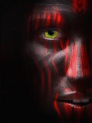 Man in Black (radonracer) Tags: eye texture face portraits gesicht fantasy digiart augen