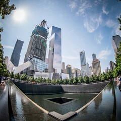 9/11 Memorial (Stefan K0n@th) Tags: nyc newyork skyline architecture square outdoor groundzero 911memorial peleng8mmf35 manhatt circularfisheye fujixpro1