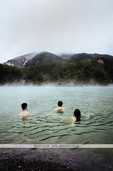 Swimming in a hot spring - Rotorua, New Zealand (Naomi Rahim (thanks for 2 million hits)) Tags: rotorua newzealand nz 2016 waiotapu geothermal thermalwonderland hotspring people swimming mountain lake water landscape nature travel travelphotography nikon nikond7000 wanderlust green cloudy overcast outdoor waiotaputhermalwonderland friends freedom free