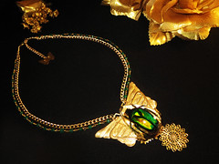 488 (insectdiva) Tags: fall beetle scarab green gold egypt artdeco deco art egyptian chalcedony beautiful necklace jewelry butterfly insectdiva chain statement style fashion flower rose nature naturelovers americanmade america usa