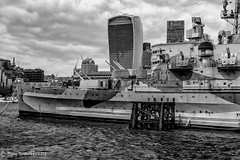 At Anchor (Tony Scuvotti) Tags: england london battleship ship navy river thames unitedkingdom uk water bw blackandwhite nikon nikond750 nik silverefexpro2 hms belfast outdoor monochrome