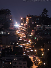 Lombard Night Trails (DSC03335) (Michael.Lee.Pics.NYC) Tags: sanfrancisco longexposure houses night sony hill curves coittower russianhill lombardstreet lighttrail traffictrail a7rm2 fe70300mmg