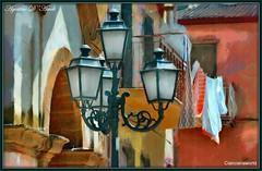 Un pittoresco angolo di paese - Luglio-2016 (agostinodascoli) Tags: art texture photoshop nikon colore digitalart digitalpainting nikkor lampioni sicilia photopainting balconi fullcolor cianciana agostinodascoli