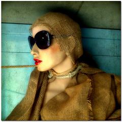 portrait face sunglasses fashion doll rope redlips textured jute supershot thankstotiminohiofortexture