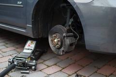 Mazda 3 Front Brake Replacement (abysal_guardian) Tags: canon eos rebel f14 sigma brakes brake 23 mazda 2008 liter pads mazda3 30mm 550d t2i