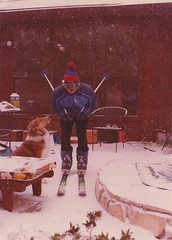 Dad in skigear (foxesandfigs) Tags: family dog pet ski film austin bill collie dad texas skiing tx jasmine father country hill gear atx