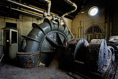 Turbine (odin's_raven) Tags: light urban abandoned industry water photoshop photography nikon industrial decay exploring explorer spooky urbanexploration works inside exploration raven derelict waterworks turbine hdr highdynamicrange decayed urbanexploring ue urbex photomatix nikor odins d700 1424mm talkurbex odinsraven odinsravenphotography