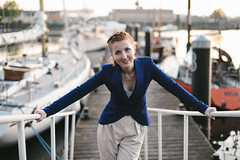 Kate (Pavels Dunaicevs) Tags: sunset portrait girl smile port river evening boat spring twilight yacht dusk quay redhead berth gangway hapyy