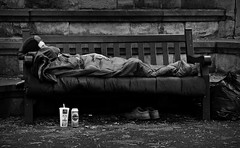 My Bed (yorktone) Tags: street camera york sleeping two portrait blackandwhite bw white man black cold art love beer monochrome birds swim dark bench boer lumix photography death sadness mono photo bed memorial shoes war gallery shadows quote decay candid yorkshire homeless under streetphotography peaceful monotone can photographic mcdonalds obrien terrible shake after british blankets asleep tracey g3 emin tone byrne lager saatchi placed flann kerrigan bereavement neatly yorktone