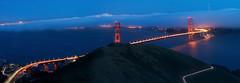 Blue Hour Bridge (Jaykhuang) Tags: sanfrancisco california light fog downtown goldengatebridge baybridge bayarea bluehour lighttrail slackerridge