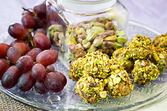 Blue Cheese Wrapped Grapes rolled in toasted, sugared pistachios with ground Chipotle Chile Peppers (Sierra Springs Photography) Tags: grapes bouche appetizer chipotle bluecheese pistachios amuse yeschef