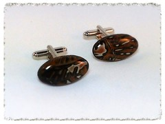 Black/White/Brown long oval cufflinks