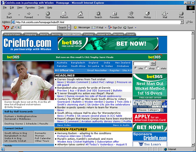 Early bet365 sponsorship on CricInfo.com - Wisden articles added post acquisition