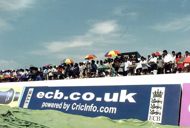 Boundary board in Sri Lanka promoting ECB.co.uk, then powered by CricInfo.com