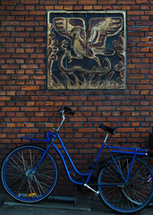 Graphic (lulleizar2012) Tags: blue brick bike wall contrast 50mm nikon graphic artsy brickwall bluebike d7000