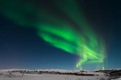 Aurora, close to Abisko N.P., Sweden (HHildebrand) Tags: winter light sky mountain color colour stars nikon sweden schweden arctic aurora northern celestial d800 abisko nordlys nordlicht
