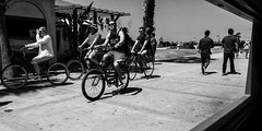 Cycling (GavinZ) Tags: street people bw usa beach bicycle cycling blackwhite pacific sandiego cellphone boardwalk calfiornia