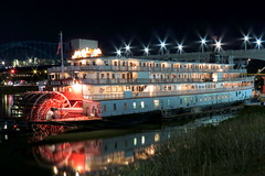 The Delta Queen at Night - Chattanooga (SeeMidTN.com (aka Brent)) Tags: reflection chattanooga night tn tennessee steamboat tennesseeriver coolidgepark deltaqueen nationalhistoriclandmark nrhp brentandmarilynnpersonalfavorite bmok paddlewheelsteamboat bmok2 deltaqueenhotel coolidgeparklanding