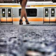 it's just the way it is~ x Tokyo (~mimo~) Tags: woman color station japan train photography tokyo shinjuku legs low ground x partial crossed iphone mimokhair findingyourselfinthestreets